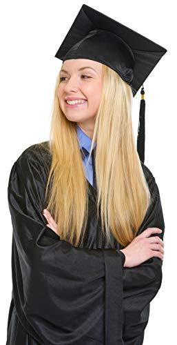 Bachelor Mütze | College | Master | Uni | Graduation | Doktorhut | Studentenhut für Abschlussfeiern vom Studium Universität Hochschule Abitur Absolventenhut in schwarz -Größe verstellbar