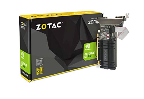 Zotac GeForce GT 710 Zone Grafikkarte (NVIDIA GT 710, 2GB DDR3, 64bit, Base-Takt 954 MHz, 1,6 GHz, DVI-D, HDMI, VGA, passiv gekühlt) - 2 Vga-video-karte