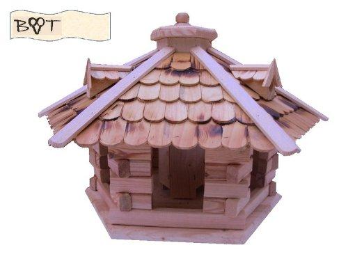 Vogelhaus -Holz Nistkästen & Vogelhäuser- aus Holz, Design Vogelvilla natur hell SG40ngMS geflammt mit Ständer - 2