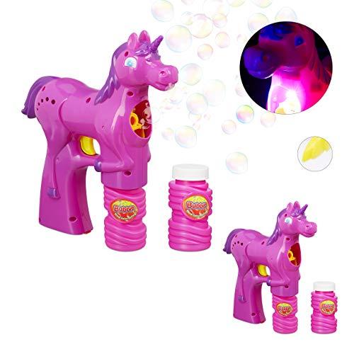 Relaxdays 2 x Einhorn Seifenblasenpistole, LED, batteriebetrieben, inkl. 4X Seifenblasen Flüssigkeit, Kinder & Erwachsene, pink