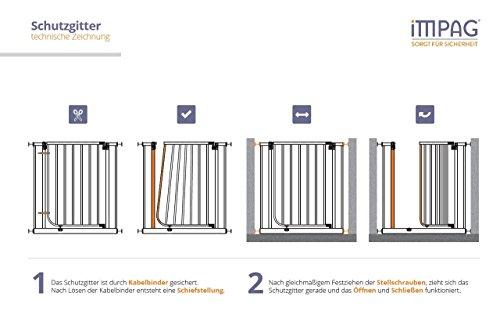 Impag Türschutzgitter 62 – 148 cm zum Klemmen Ohne Bohren Tom Weiß + 1 + 2 - 3
