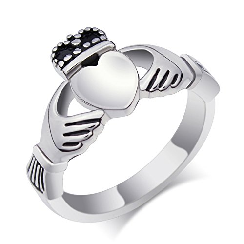 UM Schmuck Edelstahl Unisex Liebe Herz Krone Claddagh Ringe für Herren Damen Silber Band (Und Männer Frauen Claddagh-ring)
