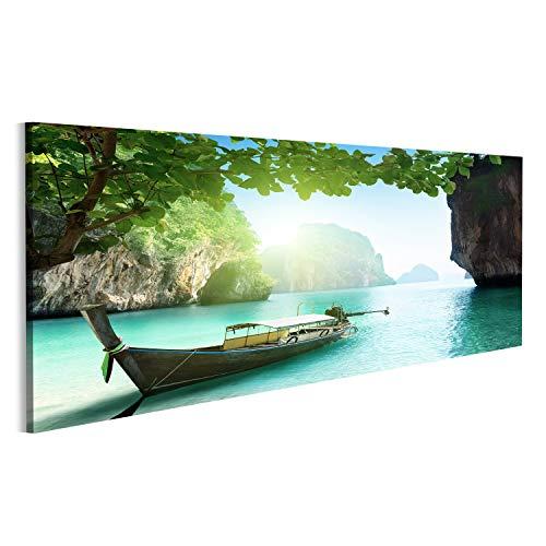 Bild Bilder auf Leinwand Boot am Strand der Insel in der Provinz Krabi, Thailand Wandbild, Poster, Leinwandbild NKR