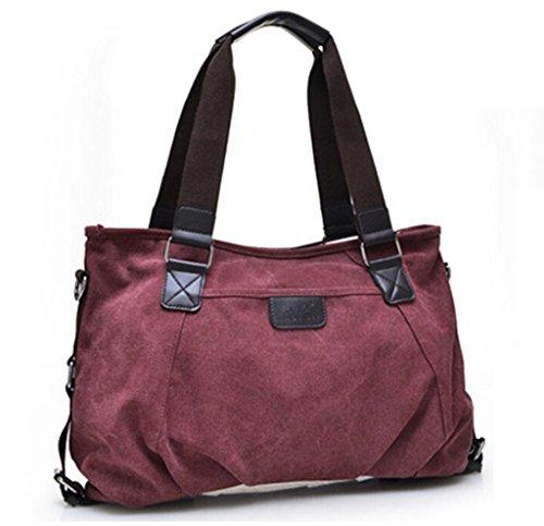 Tiny Chou, da donna, stile Vintage, con borsa a tracolla in tela con tracolla rimovibile (Claret-red)