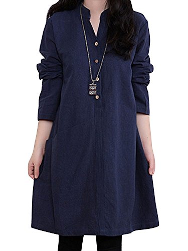 OCHENTA Femme Robe Casual Manches Longues Col Stand décontracté Bleu Marin