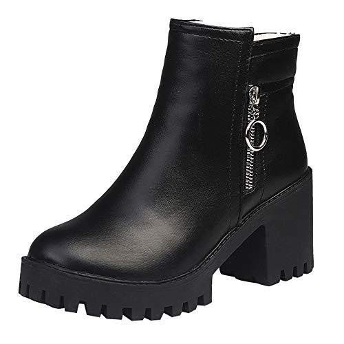 Holeider Schneestiefel Damen Stiefeletten Stiefel Leder Stiefeletten Quadratischer Absatz Schuhe Warm halten Damen Winterstiefel Winterschuhe mit Reißverschluss