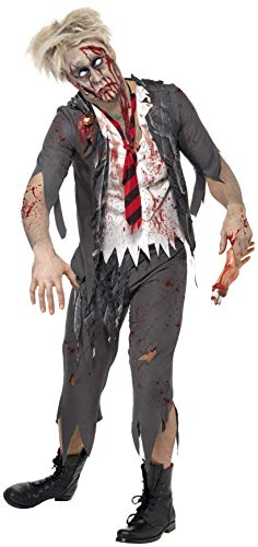 Smiffys Zombiekostüm High School Horror Schuljunge Grau mit Jacke integriertem Hemd , Large (Halloween Dress Ideen Fancy Paare)