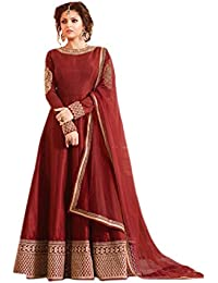 Ethnic Empire Women's Banglory Silk Semi-Stitched Anarkali Salwar Suit Piece (Ethnic_FlexER10620_Maroon_Free Size)