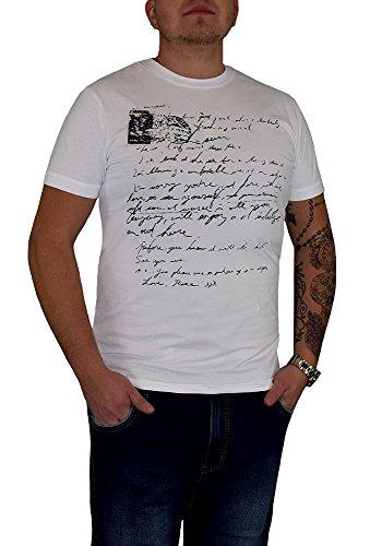 S&LU Herren T-Shirt mit einem Schrift Print Weiß