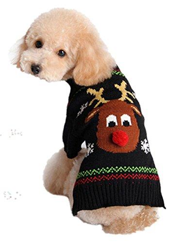 Moolecole New Weihnachten Reindeer Haustier Hund Knitted Pullover -