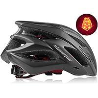 Shinmax Casco Bicicleta con Visera,Certificación CE,Ajustable Casco de Bicicleta Ligera BMX Scooter Skate Mountain Road Hombres Mujeres,Protección de Seguridad Casco Bicicleta con luz Trasera LED