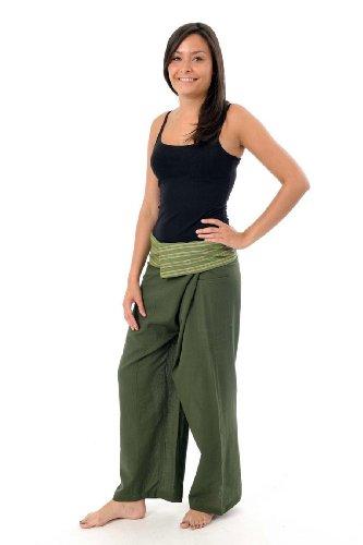 Fantazia -  Pantaloni  - Donna vert kaki rayure verte
