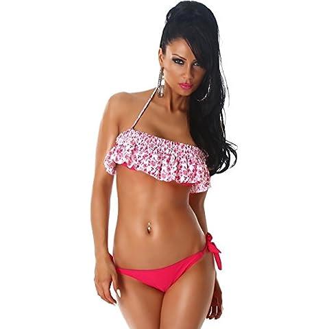 PF-Fashion Donne Bikini Halter slittamento Push-Up Top volant gancio riuniti Trendy costume da bagno floreale