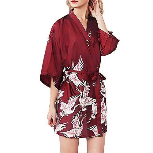 Neue sexy Damen Pyjamas fghyh Frauen Simulation Seide Damen Pyjamas Dessous Robe Bademantel Braut Mantel(M, Wein rot) -