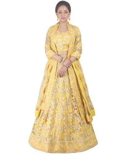 Indian Ethnicwear Bollywood Pakistani Wedding Yellow A-Line Lehenga Semi-stitched-DIVISL033