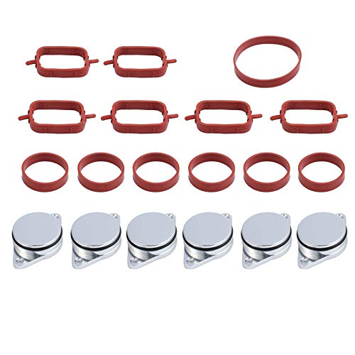 Justech 6Pcs 33mm Diesel Swirl Blanks Flaps Replacement Bungs Repair Delete  Kit with Intake Manifold Gaskets