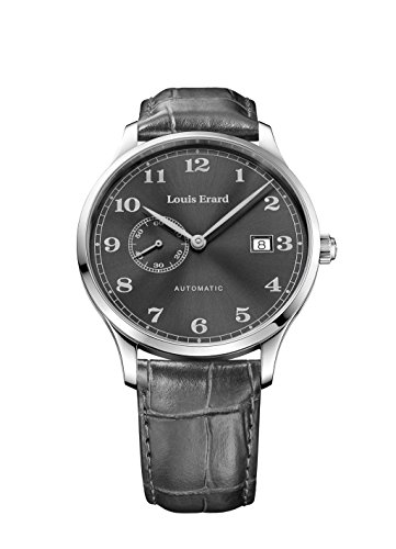 Louis Erard 1931 Second Vintage Automatik Uhr, Grau, Lederband, 66226AA23.BDC85