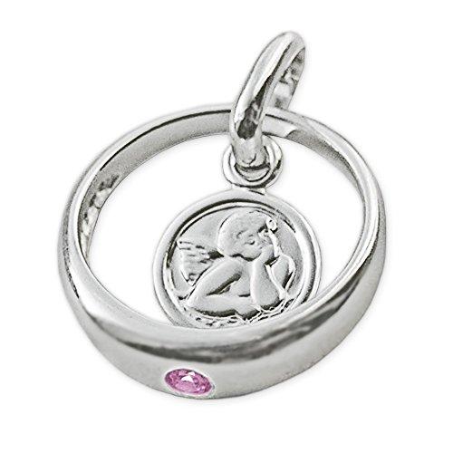 CLEVER SCHMUCK-SET Silberner Taufring Ø 12 mm Engel rund mit Zirkonia rosa und Kette Venezia 36 cm glänzend STERLING SILBER 925 für Mädchen -