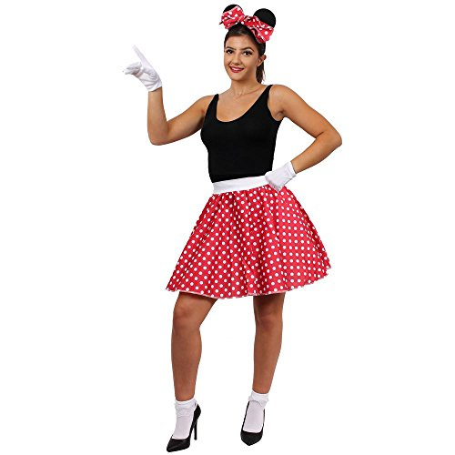 Mouse Mickey Kostüm Charakter - ILOVEFANCYDRESS VERKLEIDUNG FÜR EINE BERÜHMTE Maus AUS Film UND FERNSEHN Frauen = PERFEKT FÜR Fasching UND Karneval = Film UND FERNSEH Zeichentrick Art == BUCHWOCHE ODER AUFFÜHRUNGEN -STANDART