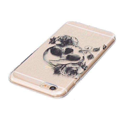 Custodia iPhone 6, iPhone 6S Cover Silicone, SainCat Cover per iPhone 6/6S Custodia Silicone Morbido, Ultra Slim Transparent Silicone Case Ultra Sottile Morbida Transparent TPU Gel Cover Case Shock-Ab Testa Del Cranio