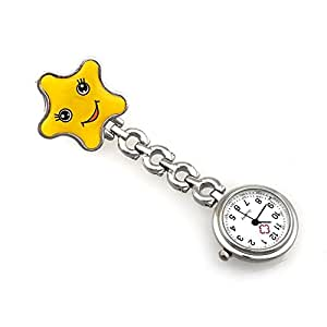 Originaltree orologio da infermiere Star Smile Face spilla orologio da tasca orologio taglia unica Yellow