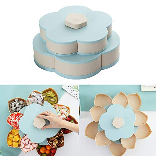Volwco Blumen-Form drehbarer Deckel Candy Box Kreative Rotary Switch Storage Teller Home Snacks Trennwand Organizer Box Party Hochzeit Candy Tray blau