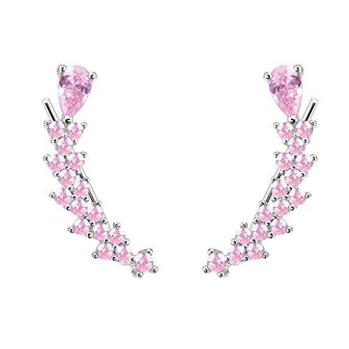 EVER FAITH® Womens argento 925 CZ Sweep dell'orecchio vite dell'involucro del polsino gancio orecchini di rosa 1 coppia - 925 Polsino Di Gioielleria