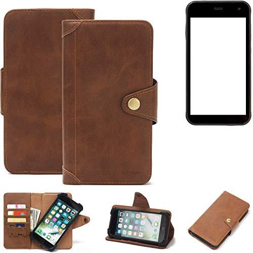 K-S-Trade Handy Hülle für Cyrus CS 22 Schutzhülle Walletcase Bookstyle Tasche Handyhülle Schutz Case Handytasche Wallet Flipcase Cover PU Braun (1x)