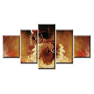 JRDWLH Prints on Canvas Home Decor 5 Panel Anime One Piece Portgas D. Ace Poster Modern Wall Art Canvas Print Painting[B] With_Frames