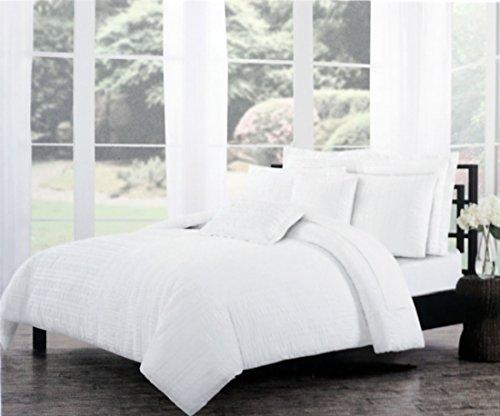 Tahari Betten massiv weiß Strukturierte Seersucker Streifen Bettbezug-Set King 3Stück Boho Rüschen Gerüscht French Farm House Shabby Chic gefaltet Muster Quilt Tröster Bezug (Tröster Set Boho)