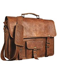 100 % Genuine Leather Vintage Style Laptop Messenger Briefcase Top Handle Travel Business Trip Bag Shoulder Bag...