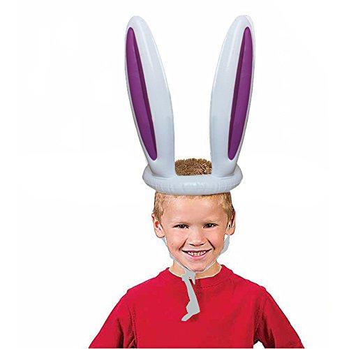 Sulifor Aufblasbare Osterhase Kaninchen Ohren Hut & Ring Werfen Ostern Kinder Spiel Spielzeug Geschenk