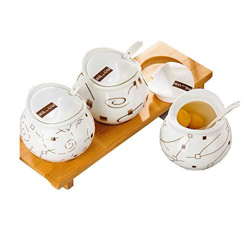 Keramik Gewürz Jar Gewürz Flaschen Salz Dosen Zucker Dosen mit Deckel Gewürz-Box Hochwertige Keramik Durable Bambus Tray Umwelt Gesundheit (Condiment Tray Deckel Mit)