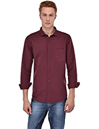 Sting Maroon Solid Full Sleeve Lenin Shirt