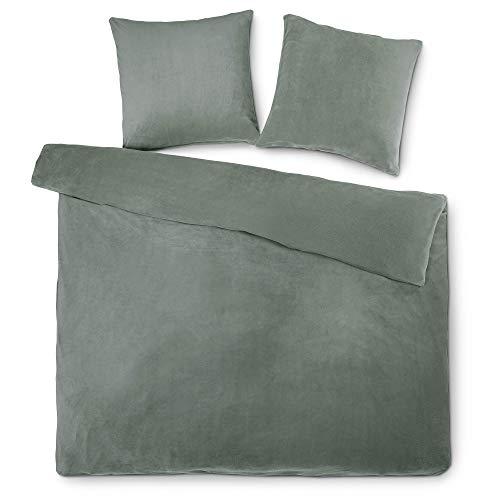 aqua-textil Feelwell Thermo Flausch Bettwäsche 200 x 220 cm 3-teilig grau Bettbezug Coral Fleece Uni 1001121