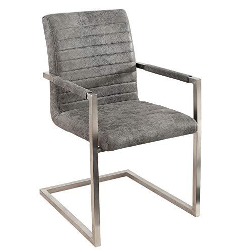 Invicta Interior Freischwinger Stuhl LOFT Vintage grau mit gepolsterten Armlehnen und Edelstahlgestell Esszimmer Stuhl