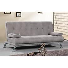 Sofa cama tres plazas apertura clic clac tapizado en tela en color marengo