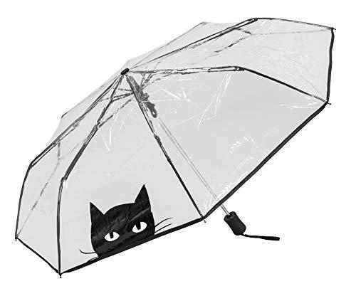 Susino Parapluie pliant - automatique transparent Chat Regenschirm, 29 cm, (Chat) (Chat Live)
