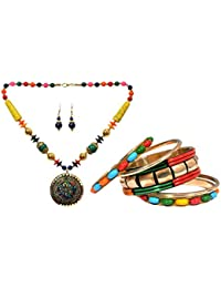 Mansiyaorange Combo Funky Casual College Wear Multi Purpose Multi Colored Thread Work Necklace And Multi Colored...