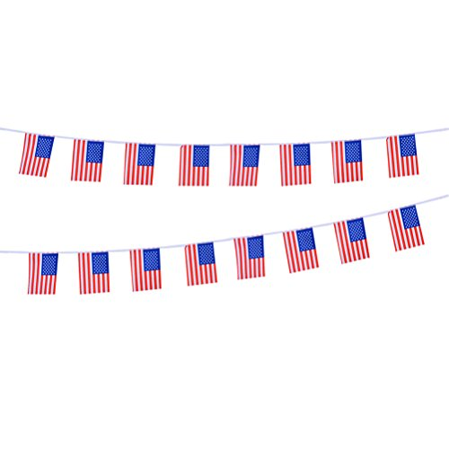 BESTOYARD Patriotische Amerikanische Flagge Wimpel Banner USA String Wimpel Banner patriotische Ereignisse 4. Juli Unabhängigkeitstag Dekorationen 5M -