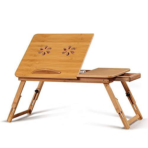 DBLAST Tablet Lesung Zeichentisch Bambus-Laptop-Schreibtisch Faltbarer Bett-Tabellen-höhenverstellbarer Sofa-Behälter mit 4 Kippwinkel-Luftlöchern-kleinen Fach Outdoor-Campingtisch