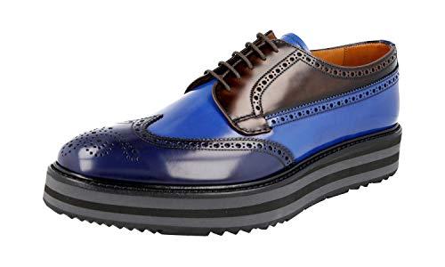 Prada 2EG015 85M F0CX2 Herren Schnürschuhe aus Leder, (Baltico Cobalto), 42 EU - Männer Schuhe Kleid Prada