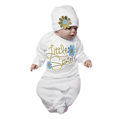 Amphia - Baby Schlafsack - Stickerei/Brief Blumen/Langarm/Nachthemd + Hut - Neugeborenes Baby Pyjamas Mädchen Stickerei Brief Blume Swaddle Outfits Set