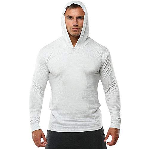 Feitong Herren Pullover, Männer Reine Farbe Sport-Pullover Lange Ärmel Kapuzen-Sweatshirt Tops Bluse(EU-40/Size-L, Weiß)