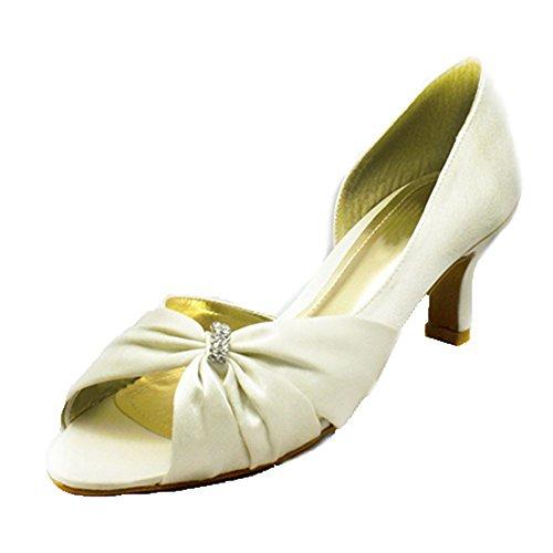Onorevoli raso tacco gattino scricchiolio peep toe scarpe da sera Ivory