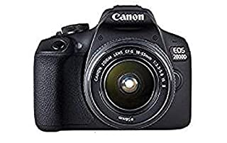 "Canon EOS 2000D - Cámara réflex de 24.1 MP (CMOS, Escena inteligente automática, 9 puntos AF, filtros creativos, EOS Movie, Full HD LCD 3"", WiFi/NFC) negro - Kit con objetivo EF-S 18-55mm IS II (B07B322GL5) 