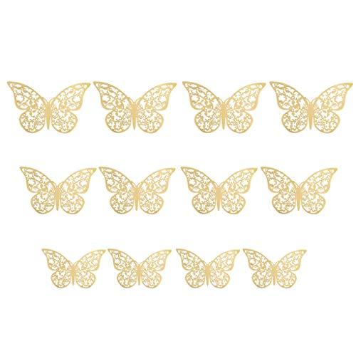 Kostüm Token Schwarz - Xuthuly 12 Stücke 3D Hohlwandaufkleber Schmetterling Kühlschrank für Hauptdekoration Mode Wohnkultur