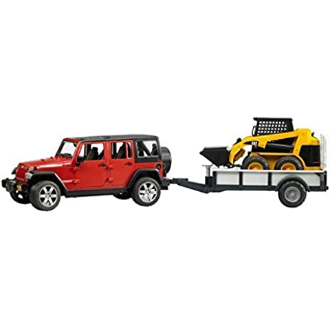 Bruder Jeep Wrangler Unlimited Rubicon with Trailer and CAT Skid Steer by Bruder Toys - Wrangler Unlimited Rubicon