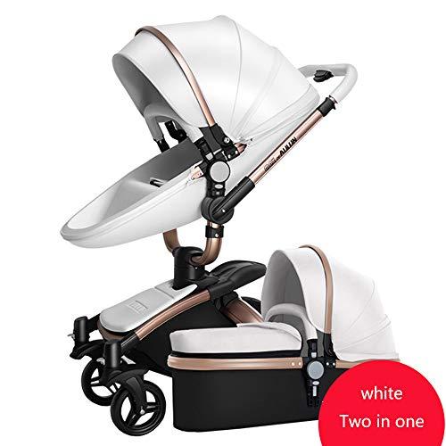 Kinderwagen-Satz 2 In Einem Rahmen + Seat + Schlafkorb-faltender Stoßdämpfer-Spaziergänger-Eierschalen-Form-hoher Landschaft-360 ° Drehsitz (Farbe : Weiß)
