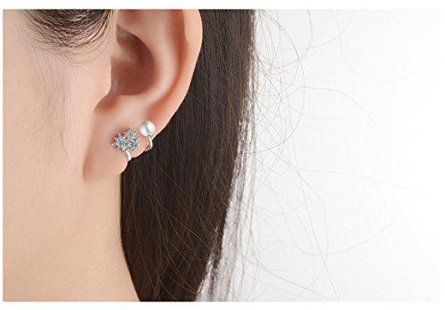 Epinki Damen 1 Paar Silber Stern Perlen Ohrklemme Ohrringe 925 Silber Fake Piercing Ear Cuff Ohr Klammern Fake Piercing Fake Loch Piercing